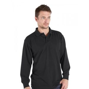 Long-Sleeved Pique Polo Shirt Black Deluxe