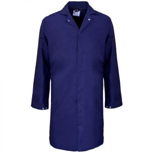 This image shows ourNavy Blue Food Coat Front